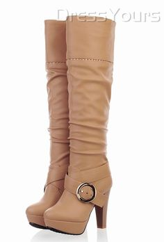 Elegant Beige Belt Buckle Chunky Heel Knee High Boot