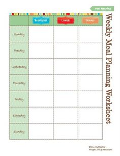 Organized Meals For A Busy Week  Planners Meals And Free Printable