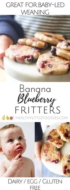 Banana Blueberry Fritters. Only 3 ingredients . Dairy free, gluten free and egg free and no refined sugar. Great for kids and for baby led weaning. (Sweet Recipes Gluten Free)
