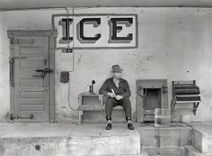 "February 1939. ""Ice for sale. Harlingen, Texas."" Pointy pick? Check. Telephone? Yes. Cash register? Yew betcha. Ginormous ball of twine? Natch. Big block of you-know-what? Right here. Snazzy socks to seal the deal? Done and done. Looks like we are in the ice business! Photo by Russell Lee."