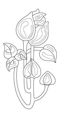 Redrawn design. Flower. Ceramic tile, art nouveau.