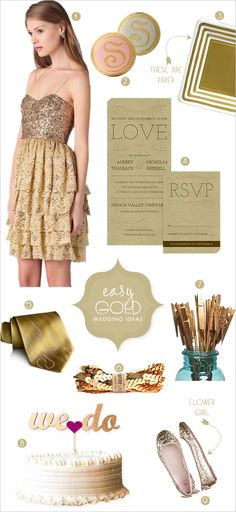 Easy Gold Wedding Ideas... like the table number holders!