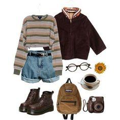 Veste marron + t-shirt rayures + sac à dos + bottines