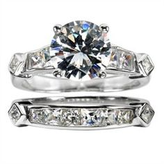 Cubic zirconia #engagement and #wedding ring sets are easy on the pocketbook. Tight budget tip: buy inexpensive silver and CZ rings now, then upgrade to gold or other metal when you are in a better financial position.