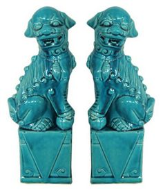 "One Kings Lane - Asian Fusion - 13"" Blue Foo Dogs, Asst. of 2"