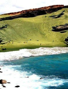 This is Papakolea Beach, this is one of only four green sand beaches in the World.