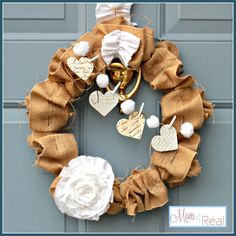 Ruffled Burlap Valentine's Wreath ... www.mom4real.com