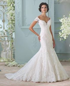 Off shoulder David Tutera for Mon Cheri wedding dresses