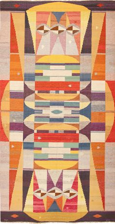 Click here to view this Beautiful and Colorful Scandinavian Swedish Kilim Rug Dated 1969 Signed MG 49267 available at Nazmiyal