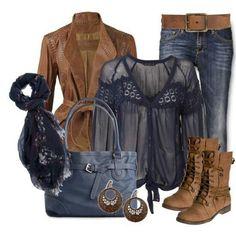 I like the jacket, boots, shirt, earrings and scarf