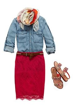 spring fashion - lace outfits - red lace pencil skirt! Love this!!!