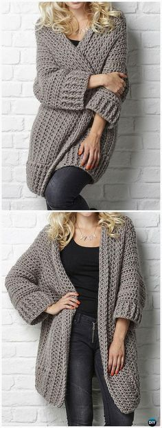 Crochet Big Chill cardigan Pattern - This is the perfect work-from-home sweater - so cozy, so warm! Crochet Women Sweater Coat Cardigan Free Patterns: Crochet Open Front Sweater Coat, Button Up Sweater Coat, Zip Up Sweater Cardigan Cardigan Au Crochet, Crochet Coat, Crochet Shawl, Crochet Clothes, Crochet Sweaters, Crochet Cocoon, Big Cardigan, Ravelry Crochet, Loose Sweater