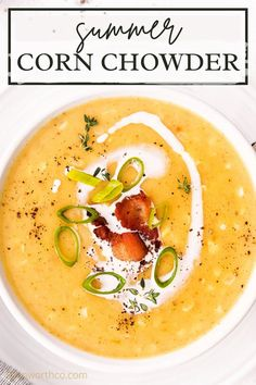 This Corn Chowder Recipe is creamy comfort food made with sweet corn, golden potatoes, and delicious bacon topped with heavy cream and cheese. PLUS instructions for how to make it in the slow cooker and pressure cooker! Chowder Recipes, Soup Recipes, Summer Corn Chowder, Sausage Tortellini Soup, Slow Cooker Soup, Slow Cooker Corn Chowder, Dinner Recipes Easy Quick, Easy Dinners, Ham And Bean Soup