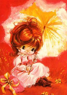 Postcard vintage seventies big eyed doll card, lovely girl under her umbrella. Unused.