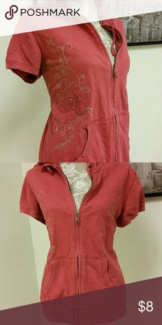 Zip Front Short Sleeve Hoodie Sonoma rose colored XL zip front short sleeve hoodie with a rose on the side. Sonoma Tops Sweatshirts & Hoodies