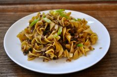 Egg noodles with mushrooms and shortrib jus (from the One Meal to Many series - sauce is made from the jus of a previous braised shortrib dinner)