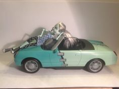 I painted this Monster High car for Frankie Stein
