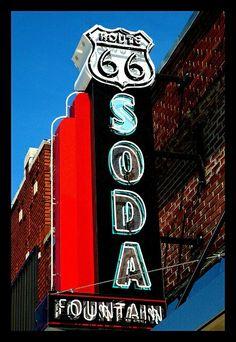 Route 66 Soda Fountain cafe neon sign