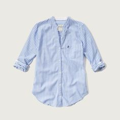 Abercrombie & Fitch Mandarin-collar Oxford Shirt ($58) ❤ liked on Polyvore featuring tops, pink stripe, oxford shirt, blue oxford shirt, abercrombie fitch top, blue top and mandarin collar top