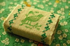 stamped & machine-embroidered linen matchbox cover by tikihead