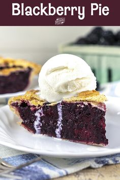 Bursting with blackberry flavor and not too sweet, this Blackberry Pie is nestled inside a flaky, buttery pie crust. Serve warm and top with homemade vanilla ice cream for a delicious summer treat. Blackberry Pie Recipes, Blackberry Dessert, Tart Recipes, Dessert Recipes, Pastry Recipes, Peach Slab Pie, Apple Slab Pie, Lemon Desserts, Just Desserts