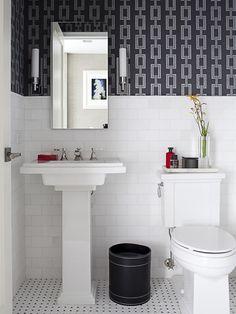 Black And White Bathroom Subway Tiles