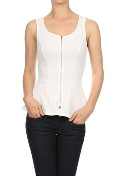 Sexy Solid Colors Fit and Flared Bottom Sleeveless Front Zippered Peplum Tank Top Blouse - Actual Images of item are shown above - Size Type: Juniors / Contemporary - Special Style: Solid color, fit a