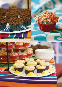 cereal topped cupcakes -- would be so fun + cool @ a morning birthday