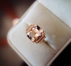 VS 6x8mm Morganite Ring Pink Morganite Wedding by AbbyandWills, $499.00