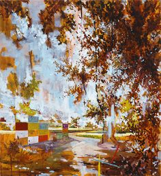 After this painting, Schnell's work seems to get more concerned with a jumbled landscape rather than pieces of architecture falling apart. this work has colorful remnants of a wall and what might be a driveway, which we're seeing through tree branches. The speckled leaves and flat, square shapes make for a nice balance.
