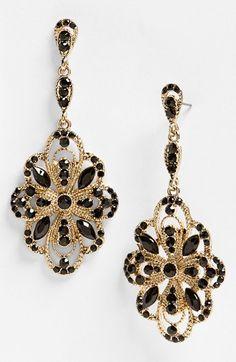 Black and gold / karen cox. Tasha Ornate Large Drop Earrings | Nordstrom