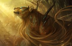 e621 ambiguous_gender brown_fur brown_hair detailed_background fantasy feline feral forest fur glowing glowing_eyes hair looking_up mammal nature outside sandara scenery solo tree unknown_species whiskers wood