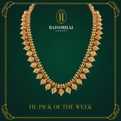 #HLPickOfTheWeek : A garland of handcrafted brilliance.  #HazoorilalLegacy #Hazoorilal #Jewelry #Gold #Necklace