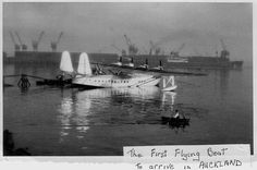 Pan American Sikorsky S42B Flying Boat moored in Aucklsnd Harbour, 1937