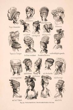 1876 Wood Engraving Headdress 18th Century Women Fashion Hats Bonnet Hairstyle