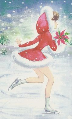vintage figure skating card