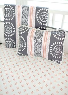 Harper in Coral Baby Bedding | Gray and Coral Pillow