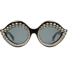 Gucci Cat Eye Sunglasses With Crystals featuring polyvore, women's fashion, accessories, eyewear, sunglasses, glasses, black, women, cateye sunglasses, acetate sunglasses, gucci eyewear, gucci sunglasses and logo sunglasses