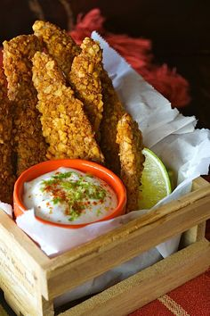 Spiced Tortilla Baked Chicken Strips & Honey-Lime Crema – weekend recipes