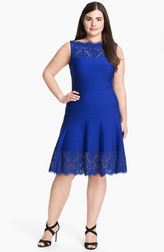 Tadashi Shoji Pleated Jersey Fit & Flare Dress (Plus Size) | Nordstrom