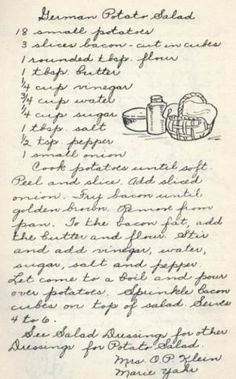 Vintage Stuff German Potato Salad - Vintage Recipe from a Lutheran Church Cookbook - This baked German potato salad is a unique take on a traditional favorite, by using baked fingerling potatoes adding a nice roasted flavor to the dish. Retro Recipes, Old Recipes, Cookbook Recipes, Vintage Recipes, Cooking Recipes, German Recipes, Family Recipes, Homemade Cookbook, Cookbook Ideas