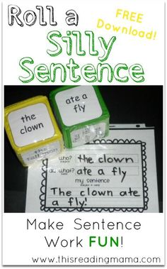 Roll a Silly Sentence with Who? Did What? ~ what a fun way write complete sentences! | This Reading Mama
