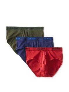 2(x)ist Men's Essential Contour Pouch Brief - 3 Pack (Mountain View/Cranberry/Medieval Blue)