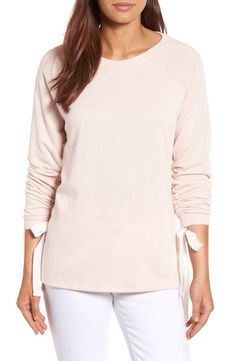 Caslon® Caslon® Tie Ruched Sleeve Sweatshirt (Regular & Petite) available at #Nordstrom