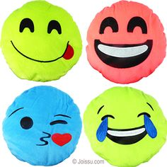 PLUSH COLORFUL EMOJIS. With appliqué and embroidered features on super-soft flannel, these will delight any stuffed animal or emoji fan. Assorted bright colors. Perfect for party favors and Easter basket treats.  Size 8 Inches
