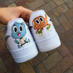 The Amazing World of Gumball. Another cartoon custom complete. The cartoon ones always take a lot longer than expected because of all the line work over the stitching. Rare Sneakers, Custom Sneakers, Custom Shoes, Sneakers Fashion, Nike Shoes Photo, Nike Shoes Air Force, Aesthetic Shoes, Hype Shoes, Fresh Shoes