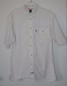 The North Face Vented Button Front Shirt Large White Fishing Camping Hiking L #TheNorthFace #ButtonFront #Fishing #Camping