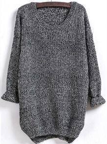 Black Long Sleeve Dipped Hem Loose Sweater