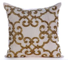 Gold Pillow Cases 16x16 Cotton Linen Pillows by TheHomeCentric