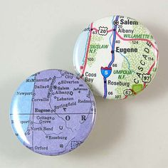 Eugene Map Pinback Buttons by XOHandworks $3